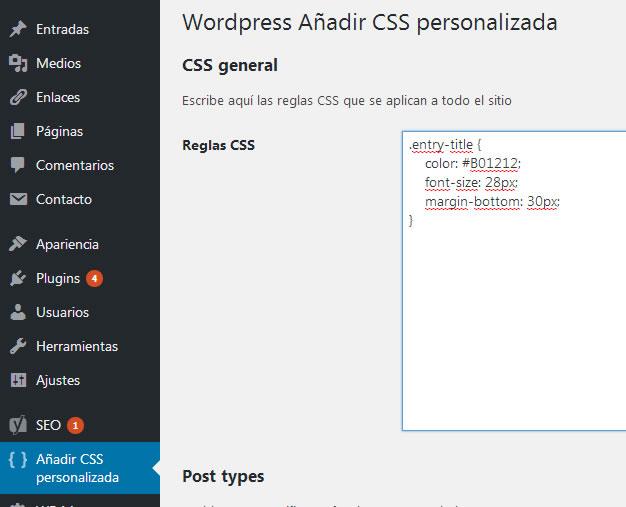CSS escrito en el campo Reglas CSS