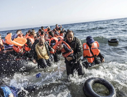Syrian refugees arrive on the shores of Lesvos island
