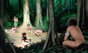 Homo floresiensis and Homo sapiens. Artwork of a Homo sapiens (right) watching a group of Homo floresiensis next to a river. H. floresiensis is thought to have become extinct 12,000 years ago, and so co-existed with modern humans (Homo sapiens). It was a small hominid, measuring just over a metre tall and with a very small brain. It is thought that it was a descendant of H. erectus that underwent island dwarfism, a process where isolated species that lack predators and are constrained by limited resources evolve to become smaller. Remains of H. floresiensis were found in 2003 at the Liang Bua cave on the island of Flores, Indonesia.