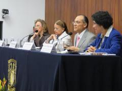 Dra. Mercedes de Vega (Archivo General de la Nación México), Dra. Estela Morales Campos (UNAM), Dr. Jaime Ríos (IIBI) y Dra. Perla Olivia Rodríguez Reséndiz (IIBI) durante la sesión inaugural de #CIADS_UNAM.