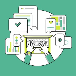 Online communication flat linear illustration with icons. Top view. Green colors