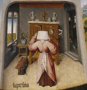 Detalle de Soberbia, Hieronymous Bosch, c. 1500. Uno de los 7 pecados capitales. Disponible en dominio público en http://j.mp/2ep82lr
