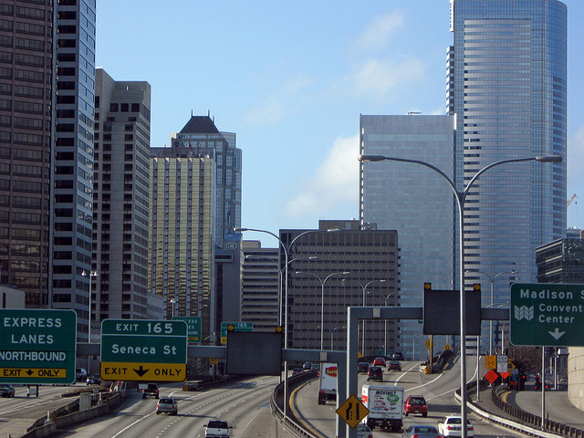 City skyline with highway - City skyline with highway in Seattle, Washington -morganmarilyn70 on Flickr