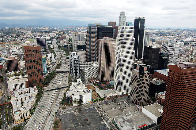 The 110 through downtown - Los Angeles helicopter tour, part 6: Hollywood to Downtown LA -Atwater Village Newbie on Flickr