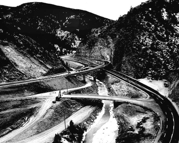 In 1959 this portion of I-70 near Denver at the Floyd Hill interchange was complete except for a small amount of cleanup work. (30-N-60-18)