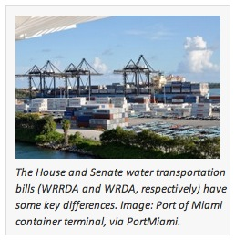The House and Senate water transportation bills (WRRDA and WRDA, respectively) have some key differences. Image: Port of Miami container terminal, via PortMiami.