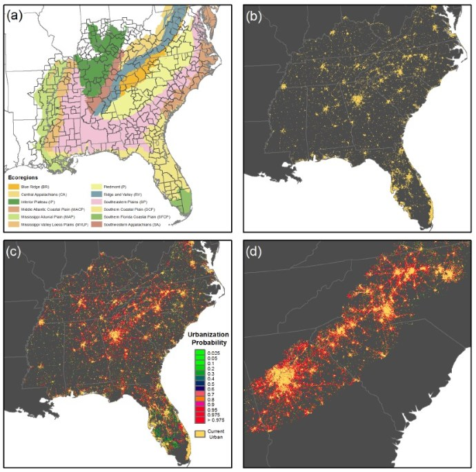 Figure 1. Business-as-usual urbanization scenario for the Southeast US.