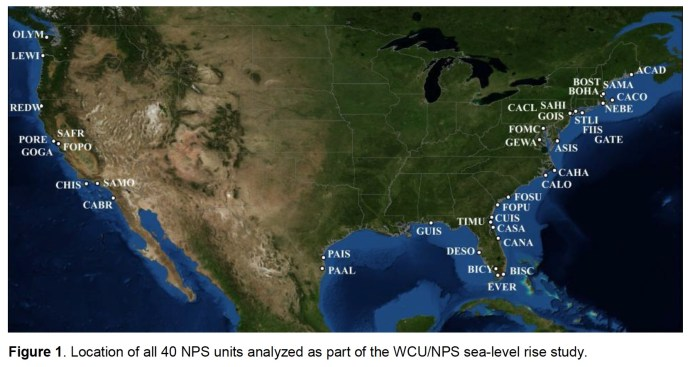 2 Figure 1. Location of all 40 NPS units analyzed as part of the WCU/NPS sea-level rise study.