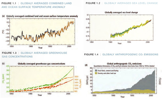   globally averaged combined land and ocean surface temperature anomaly, globally averaged sea level change, globaly averaged greenhouse gas concentrations, globaly anthropogenic co2 emissions