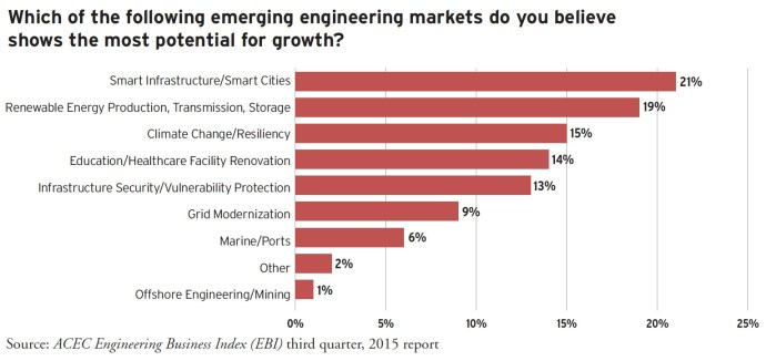 Which of the following emerging engineering markets do you believe shows the most potential for growth?