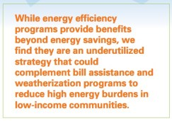 While energy efficiency programs provide benefits beyond energy savings, we find they are an underutilized strategy that could complement bill assistance and weatherization programs to reduce high energy burdens in low-income communities.