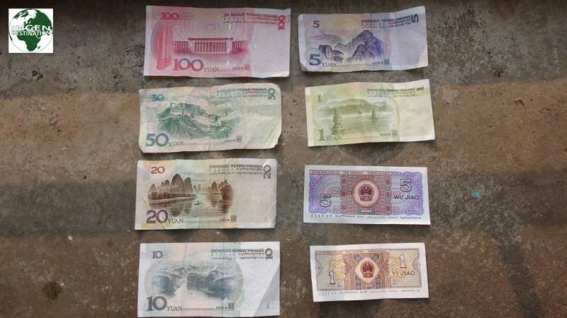 Billedet på bagsiden af 20 Yuan sedlen er fra Yangshuo hvor vi var.