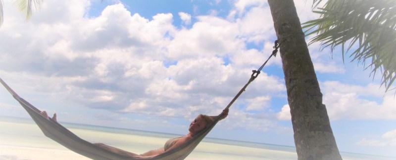 Hængekøje, strand, palmer, siquijor, filippinerne