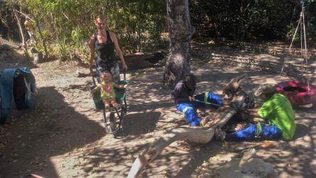 Underholdning af Olivia, mens andre arbejder. Det tog de to fyre det meste af en dag at få savet træet til.