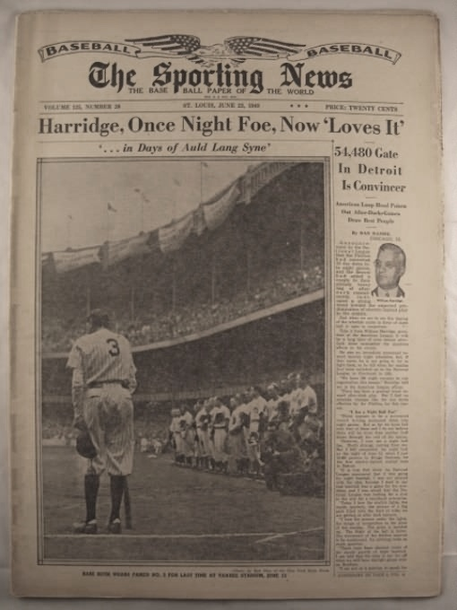 Babe Ruth at Yankee Stadium 1948