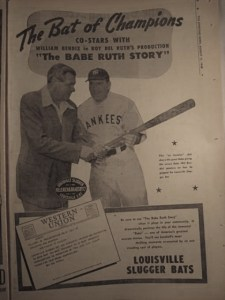 Babe Ruth and William Bendix for The Babe Ruth Story