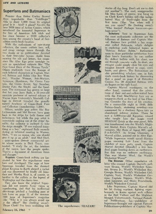 Newsweek 1965 article about comic collecting
