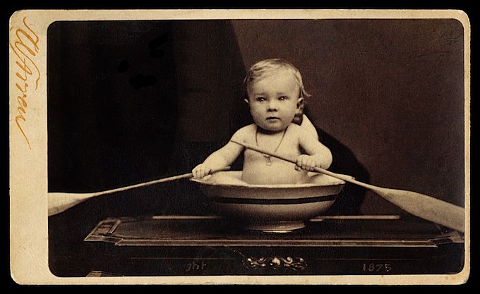 antique William Shaw Warren CDV photograph baby in basin