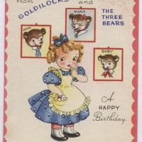 Vintage Birthday Greetings From Goldilocks & The Three Bears