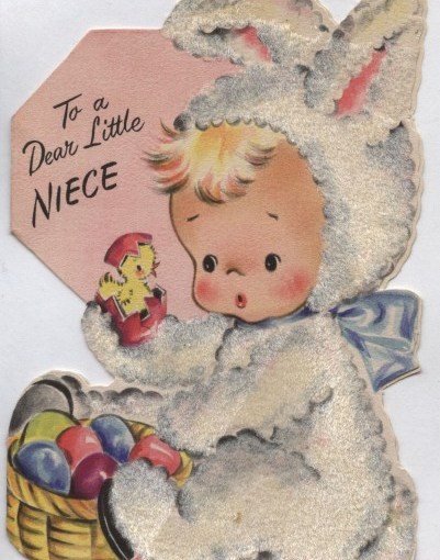Vintage Flocked Hallmark Easter Card