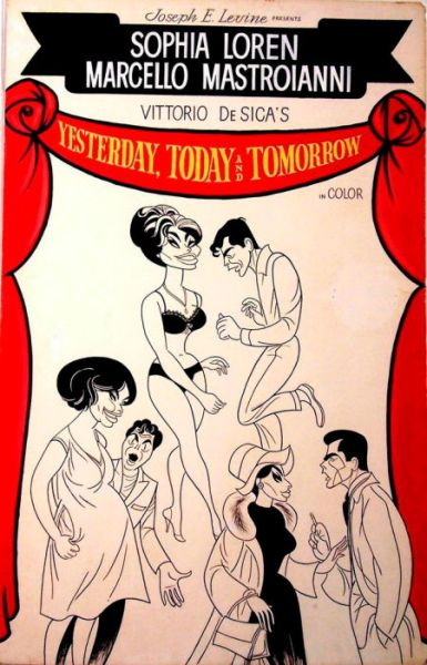 JOHN J. LOMASNEY movie art poster sophia loren Yesterday, Today, and Tomorrow