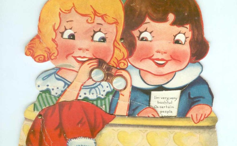 Sweet Little Girls Looking For Love At The Opera (Antique Valentine Card)