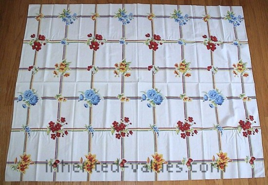 Vintage WILENDUR Bright FRUIT & FLORAL Grid Tablecloth strawberries cherries