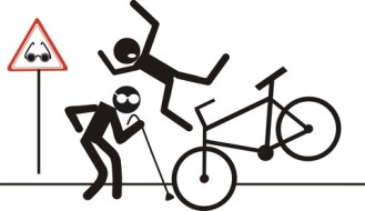 Stick figure crashing a biycycle