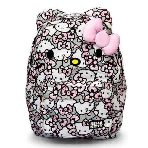 Hello Kitty Pink Grey White All Over Backpack by Loungefly
