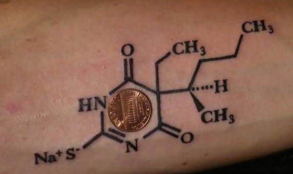 Carl zimmer 39 s unified theory of tattoo inked magazine for Caffeine molecule tattoo
