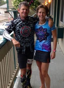 Grant Maughan and Jen Edwards wearing the INKnBURN Performance Denim Sport Skirt during her FatDog 120-mile 2nd place win in August, 2014.