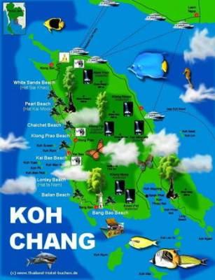 Cartina di Koh Chang Thailandia - destinazioni pacchetti viaggio