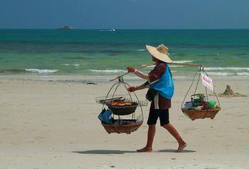 Thailand sellers beach in Koh samet