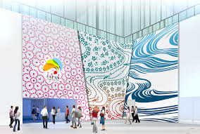 Above, below and top: Concept renderings for the various zones of the Japan Pavilion, Astana Expo 2017