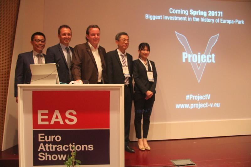 Tim Chen (Brogent), Manfred Meier (Kraftwerk), Michael Mack (Europa-Park), C.H. Oyang (Brogent), Ariel Hsieh (Brogent) at their press conference during EAS 2016.