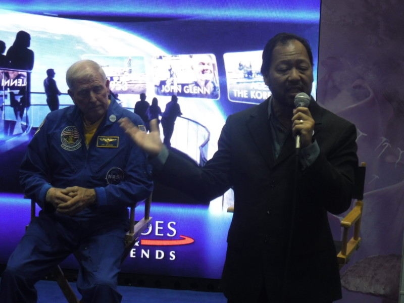 Astronaut Jon McBride and Falcon's founder Cecil Magpuri at Falcons Creative press conference.