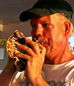 Mike in key west playing conch