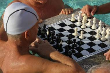 Playing chess in Budapest Baths