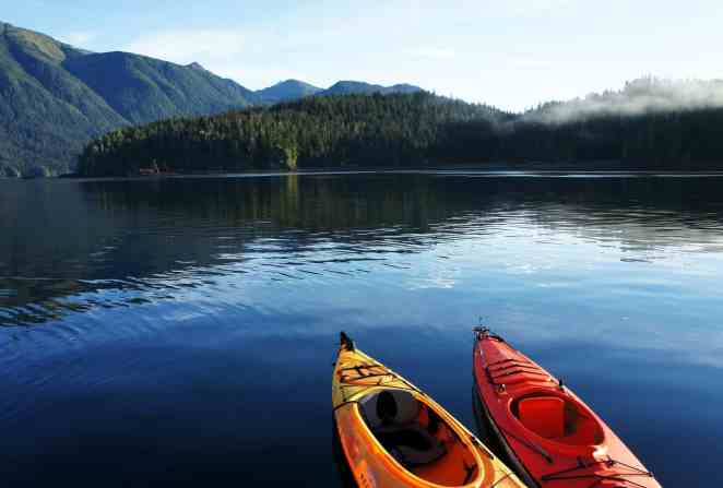 View from the shores with a kayak in Alaska via @insidetravellab