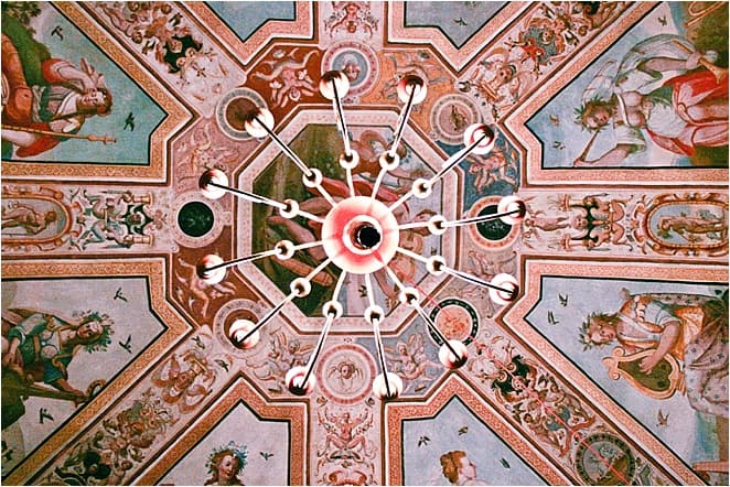 The grand ceiling at the villa di Corliano in Tuscany Italy