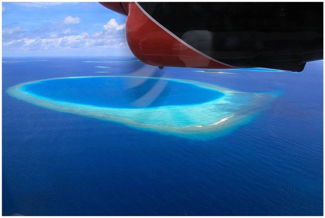 Flying over the Maldives