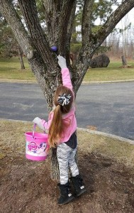 Madison Collins reaches way up high to get ahold of an egg.