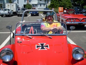 Jeff DeAngelis rode from Asbury to show off his '63 Volkswagon Dune Buggy, winner of Most Unique vehicle
