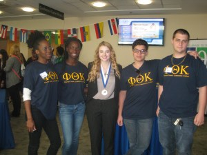Members of PTK attended the Middle States Regional Honors in Action & Completion Conference recently, which included a College Completion kick-off rally. Pictured are left to right, WCCC PTK members Elizabeth Touaboy-Gounkofe and Ashley Charleus, 2016 NJ State President Becca Sulla, WCCC PTK member Yaseen Mahmoud, and WCCC PTK President Ben Volk.