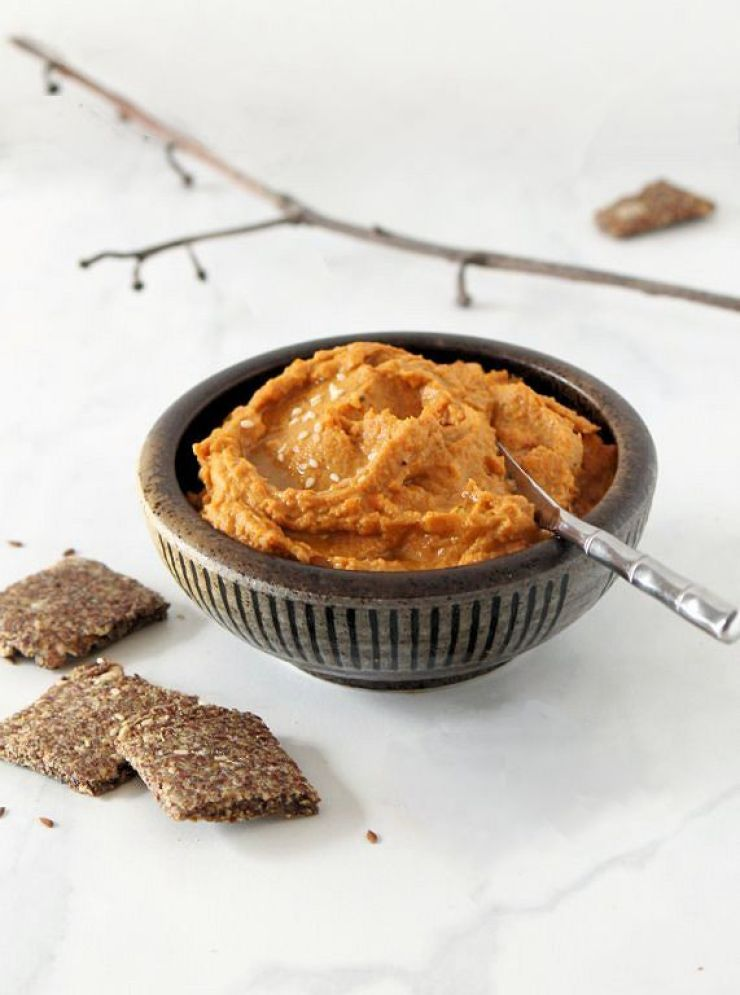 Roasted Sweet Potato Persimmon Hummus with Almond-Flax Crackers