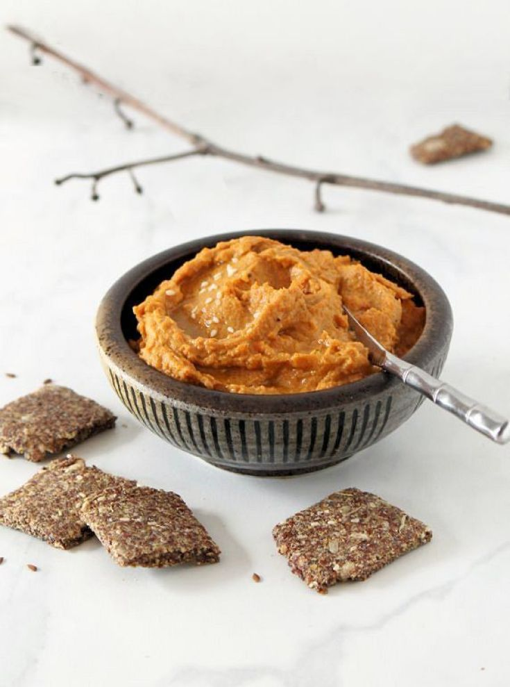 Roasted Sweet Potato & Persimmon Hummus with Flax Crackers