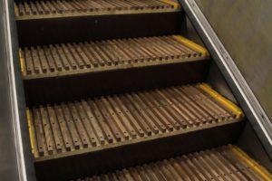 close up Wynyard Staion Wooden Escalators