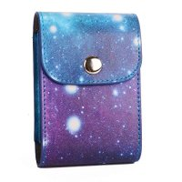 [Portable Fujifilm Instax Mini Photo Collecting Case] -WOODMIN Exclusive Starry Sky Galaxy PU Leather Storage Bag for 3 Inches Photos, Films and Instax Mini Close-up Lens (Blue)