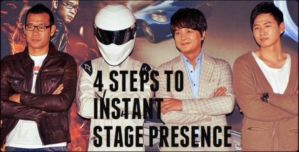 Photo of the Stig and the 3 Korean Top Gear Presenters. Like him, you to can use these stage presence exercises