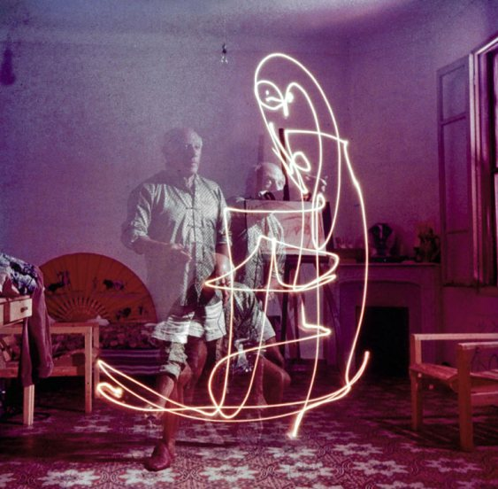 A triple exposure photograph of Pablo Picasso taken in 1949 at his home in Vallauris, France